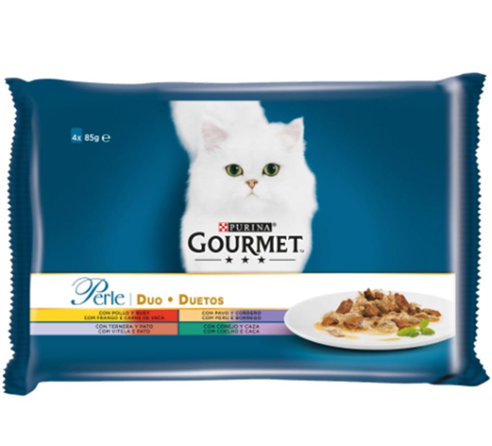 Gourmet Perle Multipack, Pui, Curcan & Miel, Vitel & Rata, Iepure & Vanat, 4 x 85 g imagine