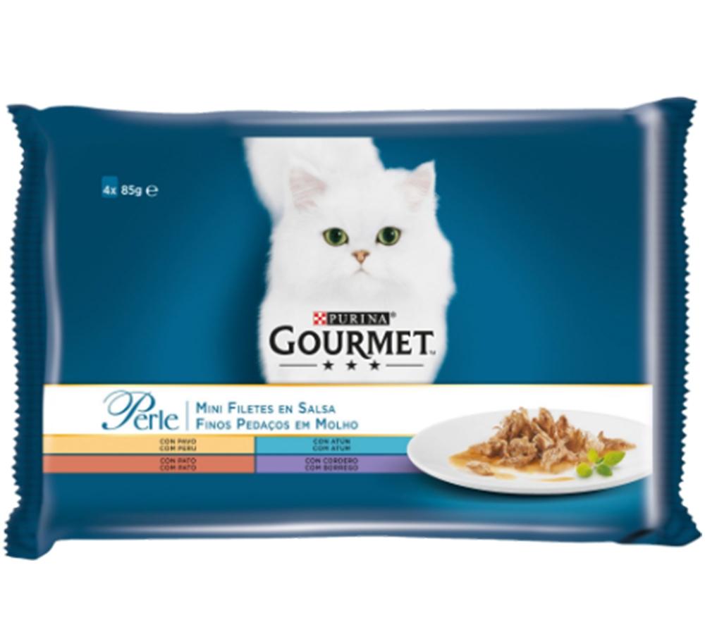 Gourmet Perle Multipack cu Miel, Rata, Ton, Curcan, 4 x 85 g imagine