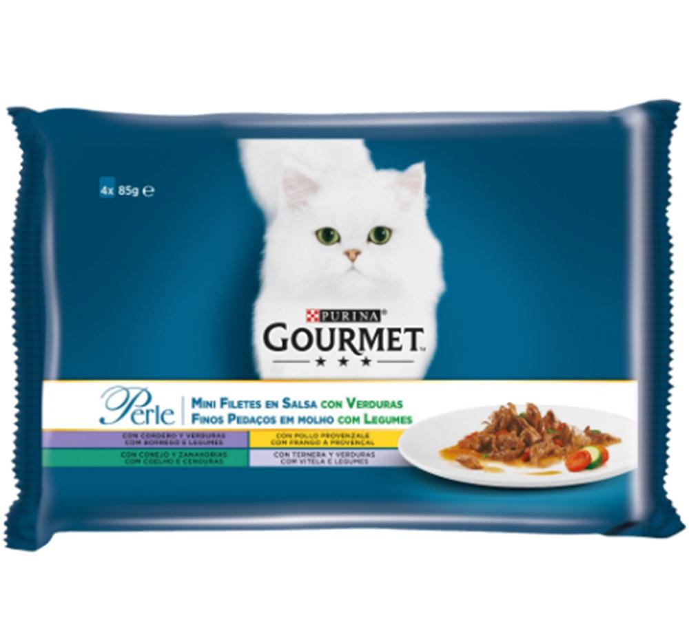 Gourmet Perle Multipack, Vitel & Legume, Iepure, Miel, Pui Provencale, 4 x 85 g imagine