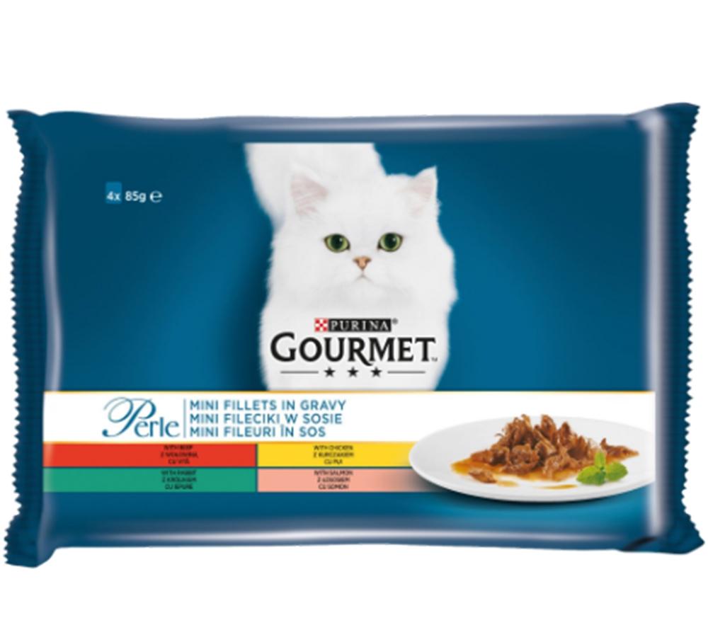 Gourmet Perle Multipack cu Vita, Pui, Iepure, Somon, 4 x 85 g imagine