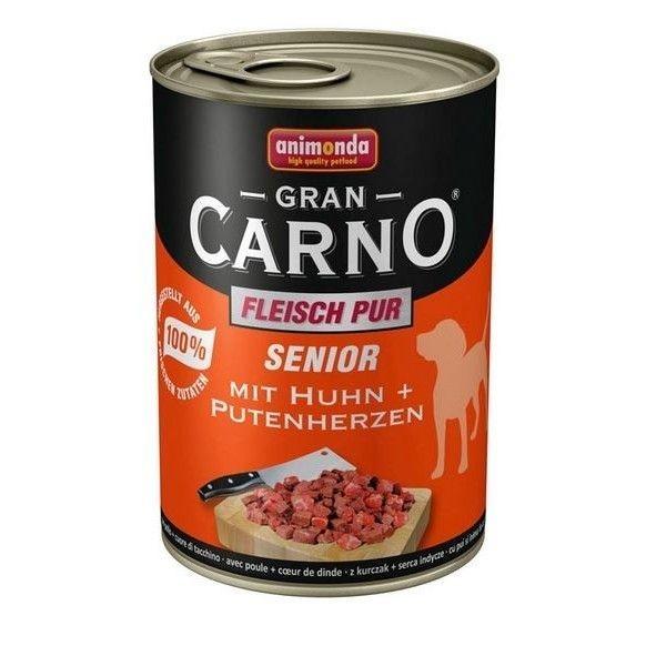 Hrana umeda caini, Grancarno Senior Dog Pui + Inima Curcan, 400 g imagine