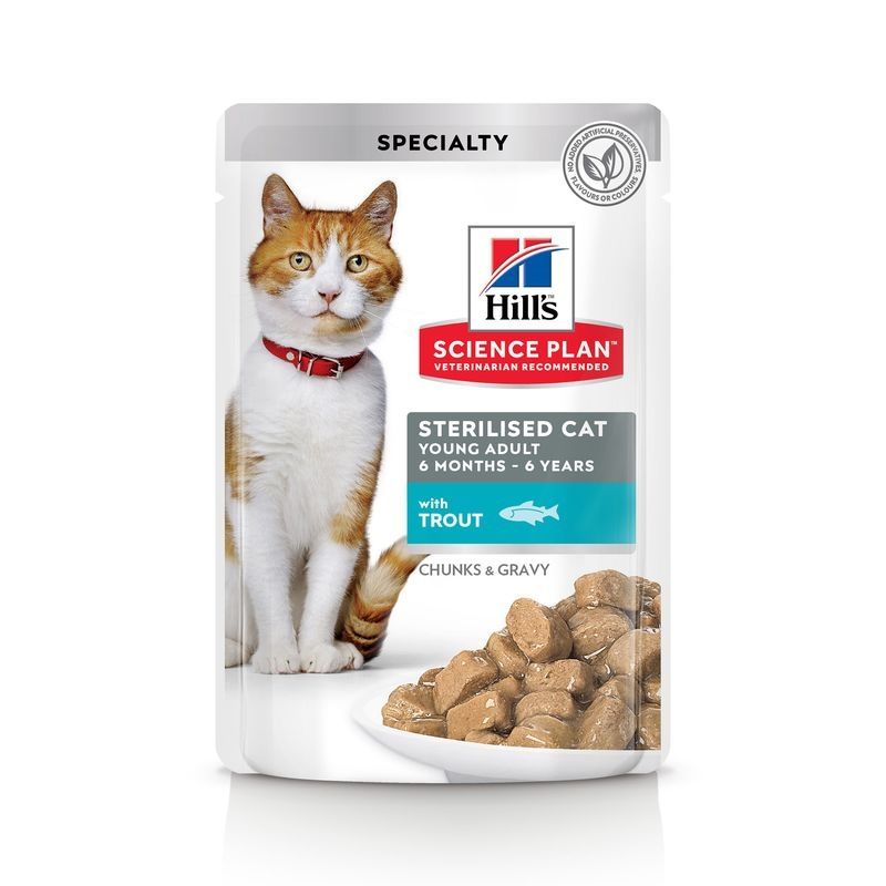 Hill's SP Sterilised Cat Young Adult hrana pentru pisici cu pastrav 85 g (plic) imagine