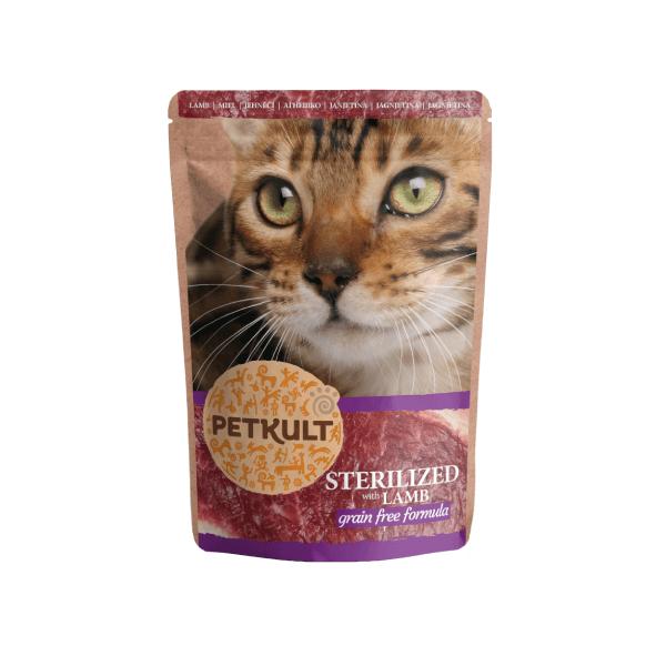 Hrana umeda pisici Petkult Sterilizat cu Miel, 100 g imagine