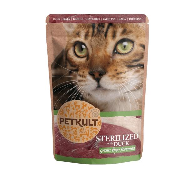 Hrana umeda pisici Petkult Sterilizat cu Rata, 100 g imagine
