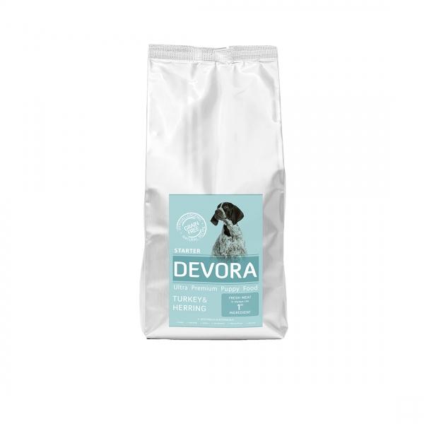 Devora Grain Free Starter, Curcan, Hering si Mazare, 7.5 kg imagine