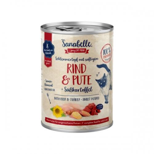 Hrana umeda pisici, Sanabelle, Vita si Curcan, 380 g imagine
