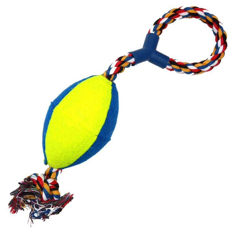 Jucarie minge rugby bumbac pentru caini, 4Dog imagine