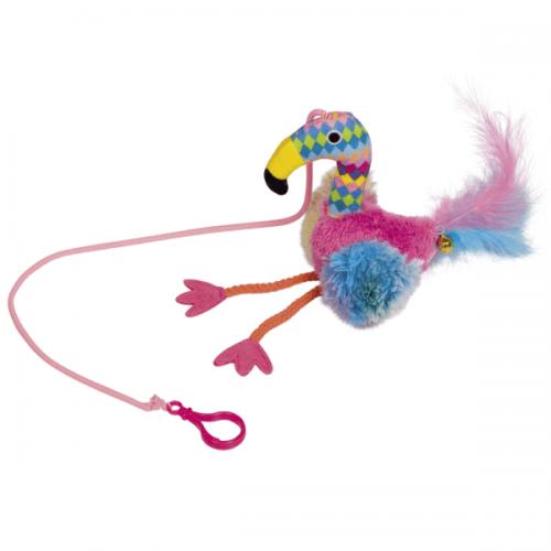 Jucarie pentru pisici, Nobby Flamingo Puf & Clopotel, 22 cm imagine