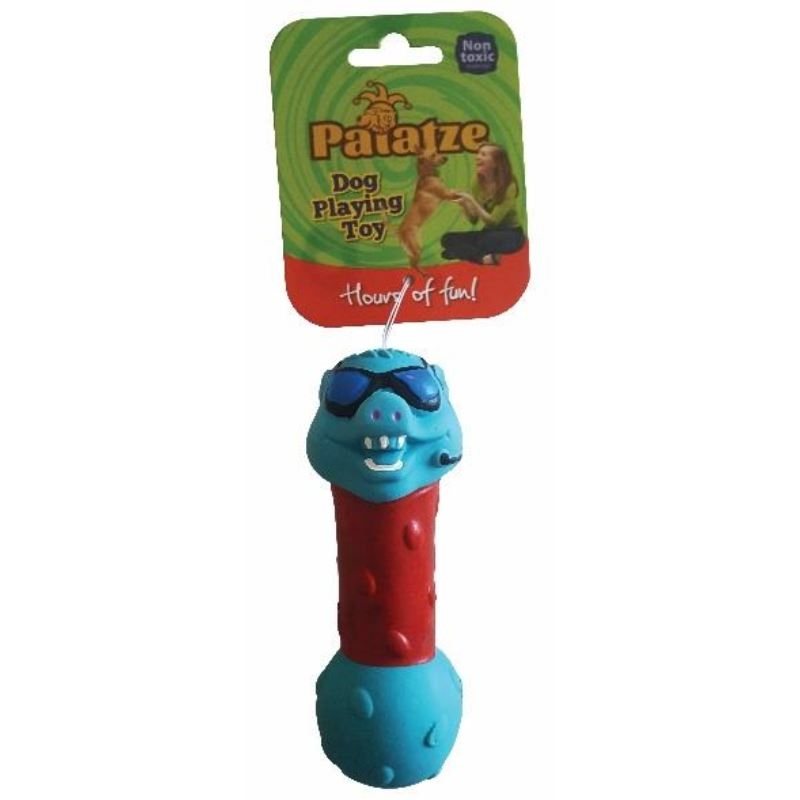 Jucarie Paiatze Dog Crazy Mr. PSY Latex, albastra, 13 cm imagine