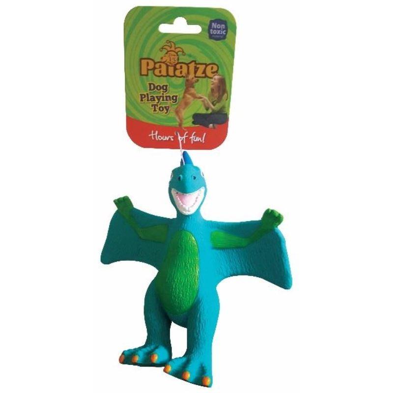 Jucarie Paiatze Dog Dinozaur Latex, albastra, 22 cm imagine