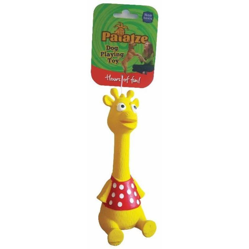 Jucarie Paiatze Dog Girafa Latex, galbena, 19 cm imagine