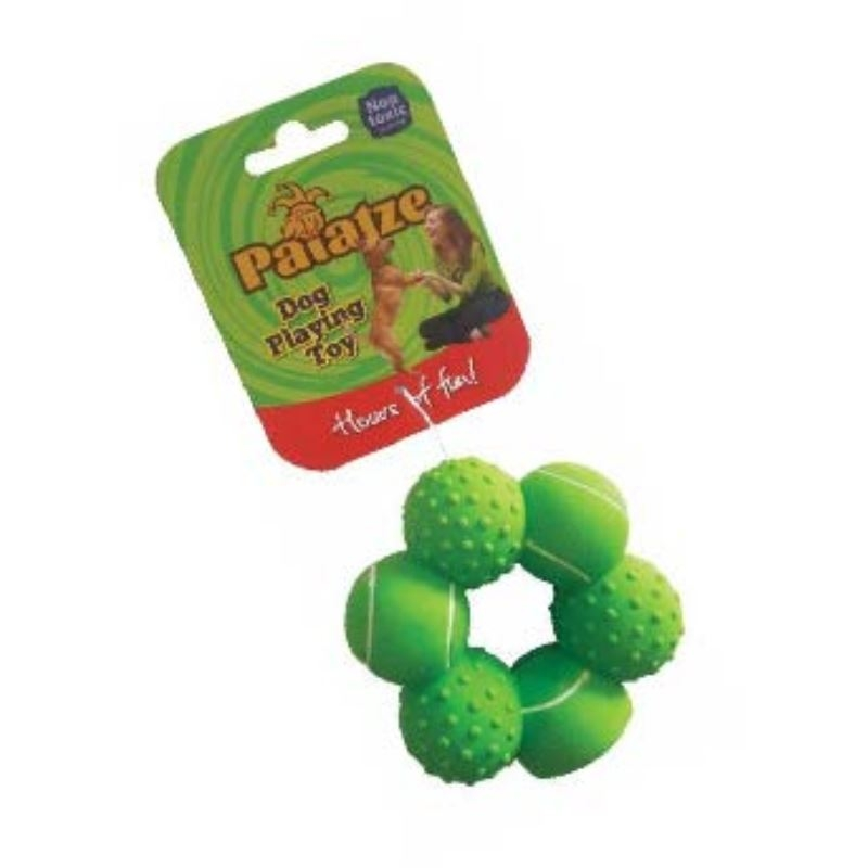 Jucarie Paiatze Dog Inel 6 mingi Latex, verde, 10 cm imagine