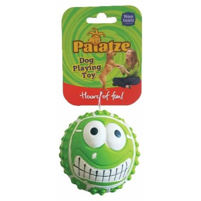 Jucarie Paiatze Dog Smile Face Latex, verde, 7 cm imagine
