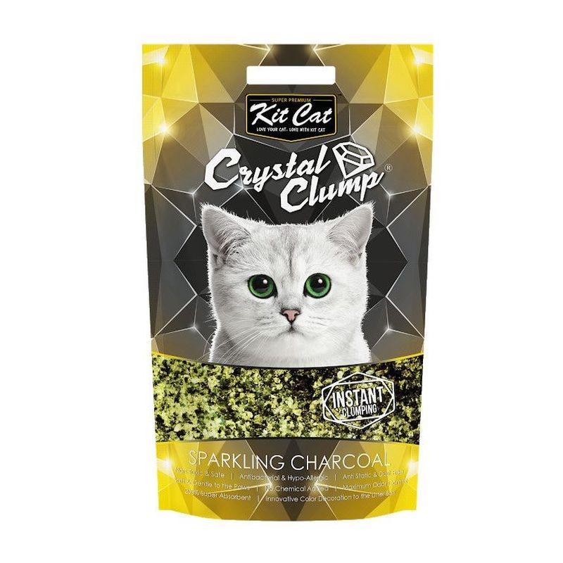 Kit Cat Crystal Clump Sparkling Charcoal, 4 l imagine