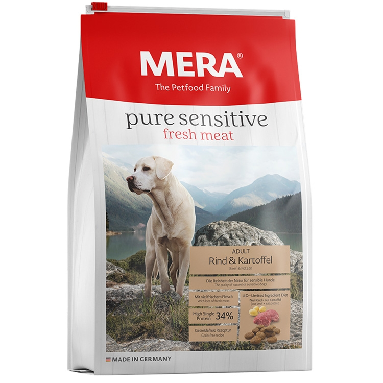 Hrana uscata caini, Mera, Pure Sensitive Fresh Meat Adult, Vita si Cartof, 12.5kg imagine