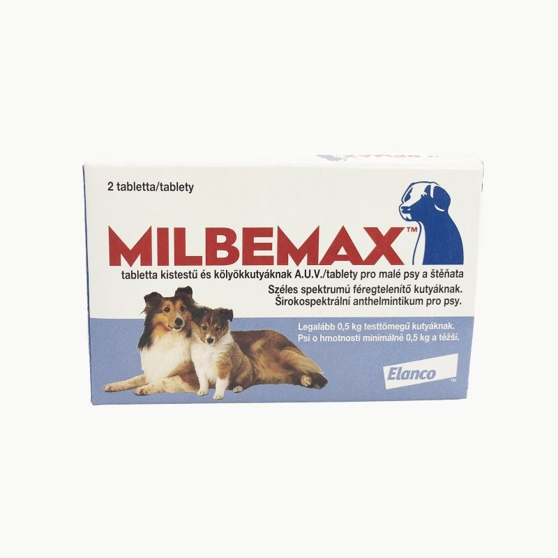 Milbemax Dog 2.5 / 25 mg (< 5 kg), 2 tablete imagine