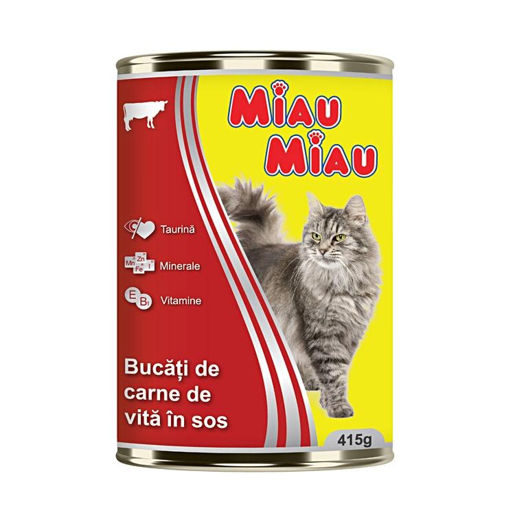 Mancare umeda pisici, Miau Miau, Vita, 415g imagine
