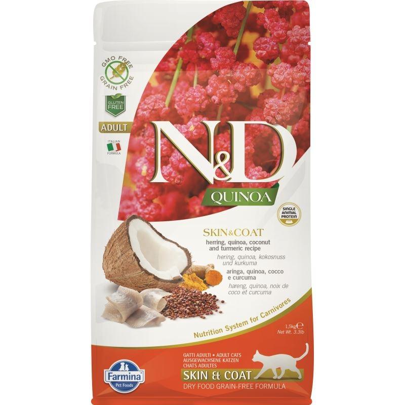 N&D Cat Quinoua Skin & Coat Herring, 1.5 kg imagine