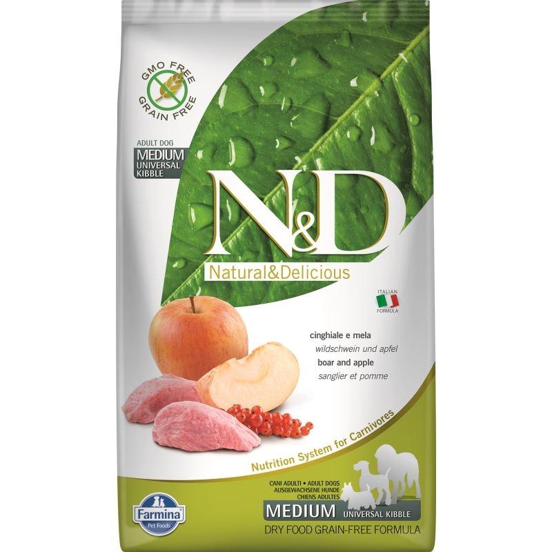 N&D Dog Grain free Boar and Apple Adult Medium, 2.5 kg imagine