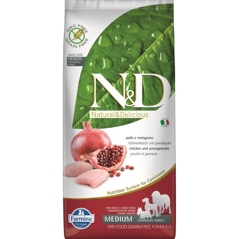 N&D Dog Grain free Chicken and Pomegranate Adult Medium, 12 kg imagine