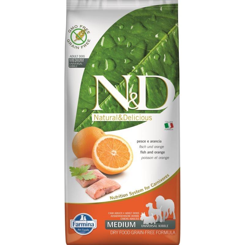 N&D Dog Grain free Fish and Orange Adult Medium, 7 kg imagine