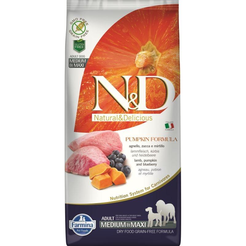 N&D Dog Grain free Pumpkin Lamb and Blueberry Adult Medium Maxi, 12 kg imagine