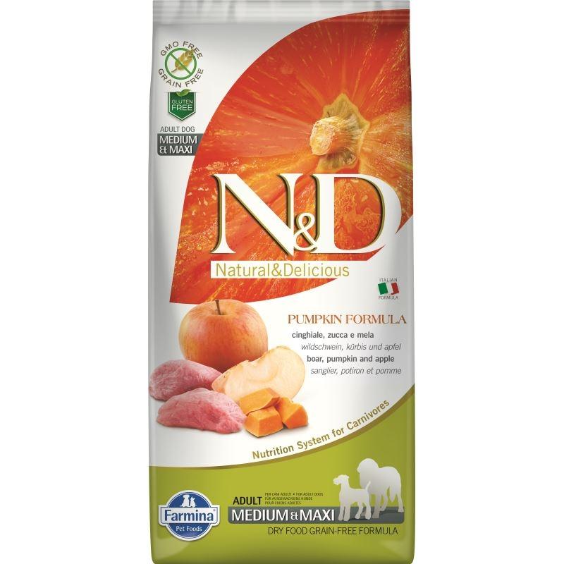 N&D Dog Grain free Pumpkin Boar and Apple Adult Medium and Maxi, 12 kg imagine