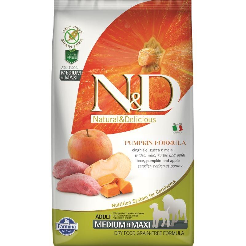 N&D Dog Grain free Pumpkin Boar and Apple Adult Medium Maxi, 2.5 kg imagine