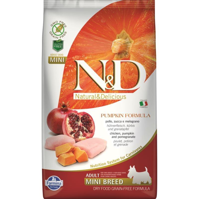 N&D Dog Grain free Pumpkin Chicken and Pomegranate Adult Mini, 2.5 kg imagine