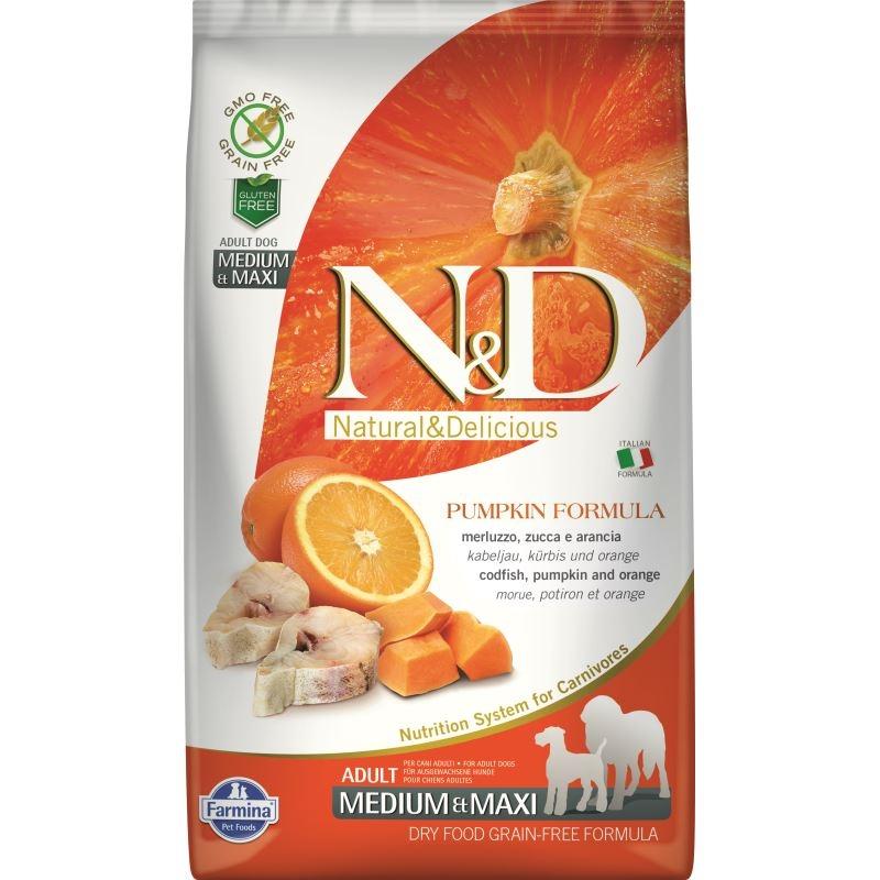 N&D Dog Grain free Pumpkin CodFish and Orange Adult Medium Maxi, 2.5 kg imagine