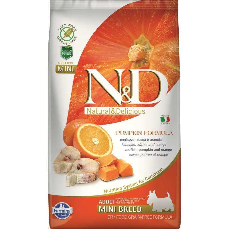 N&D Dog Grain free Pumpkin CodFish and Orange Adult Mini, 2.5 kg imagine