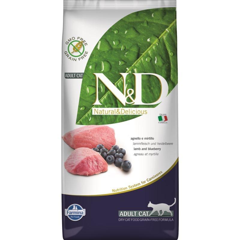 N&D Grain free Cat Lamb and Blueberry Adult, 5 kg imagine