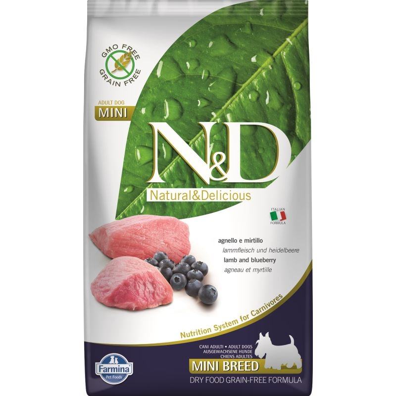 N&D Dog Grain free Lamb and Blueberry Adult Mini, 2.5 kg imagine