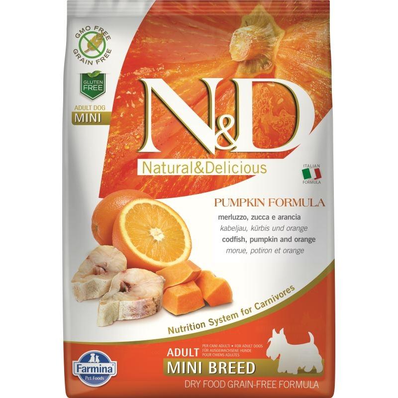 N&D Dog Grain free Pumpkin CodFish and Orange Adult Mini, 7 kg imagine