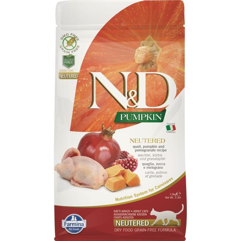 N&D Cat Grain Free Neutered, Pumpkin and Quail, 1.5 kg imagine