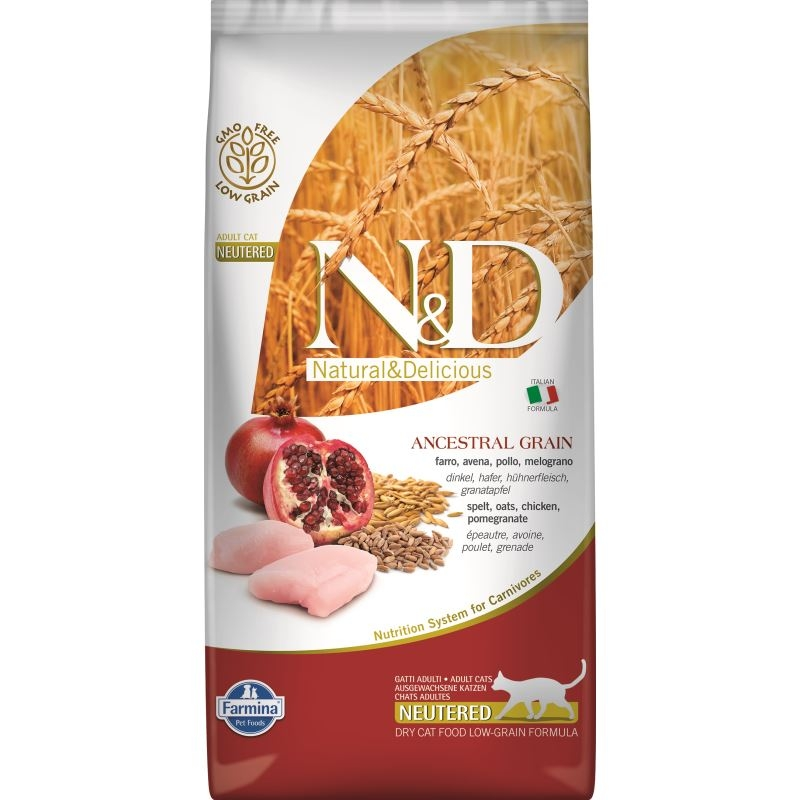 N&D Low Grain Cat Chicken and Pomegranate Neutered, 5 kg imagine