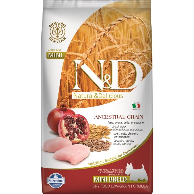 N&D Low Grain Chicken and Pomegranate Adult Mini, 2.5 kg imagine