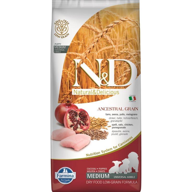 N&D Low Grain Dog Chicken and Pomegranate Puppy Medium, 12 kg imagine