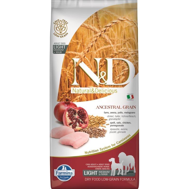 N&D Low Grain Dog Chicken & Pomegranate Light Medium and Maxi, 12 kg imagine