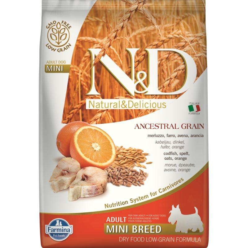 N&D Low Grain Dog CodFish and Orange Adult Mini, 7 kg imagine