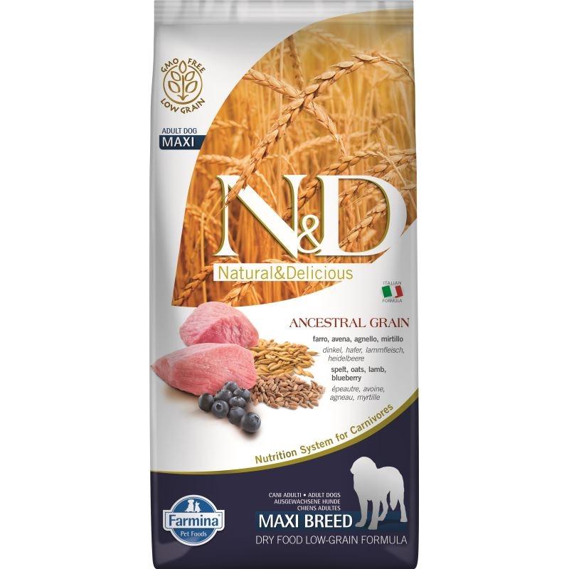 N&D Low Grain Dog Lamb and Blueberry Adult Maxi, 12 kg imagine