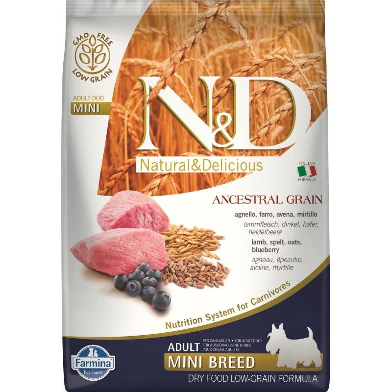 N&D Low Grain Dog Lamb and Blueberry Adult Mini, 7 kg imagine