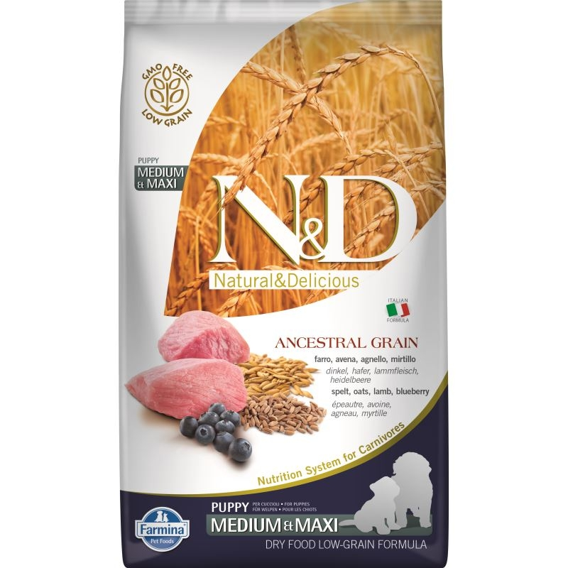 N&D Low Grain Dog Lamb and Blueberry Puppy Medium and Maxi, 2.5 kg imagine