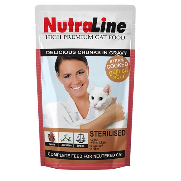 Nutraline Cat Plic Sterilised, 100 G imagine
