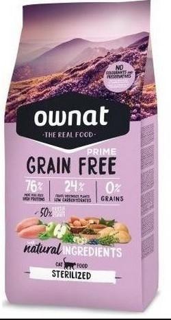 Ownat Grain Free Prime Sterilized Cat, 8 Kg imagine