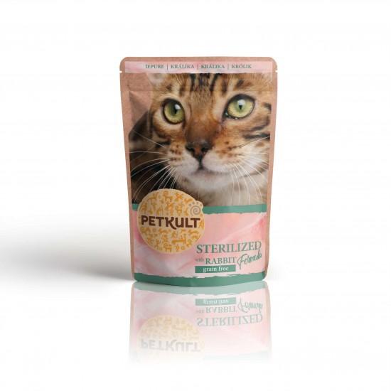 Hrana umeda pisici sterilizate, Petkult, Iepure, 100 g imagine