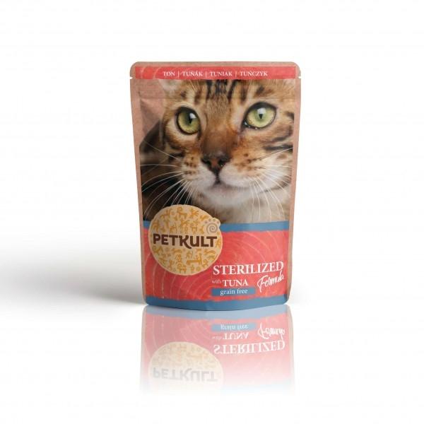 Hrana umeda pisici sterilizate, Petkult, Ton, 100 g imagine