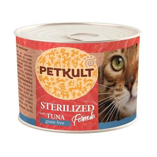 Hrana umeda pisici, Petkult Sterilised cu ton, 185 g imagine