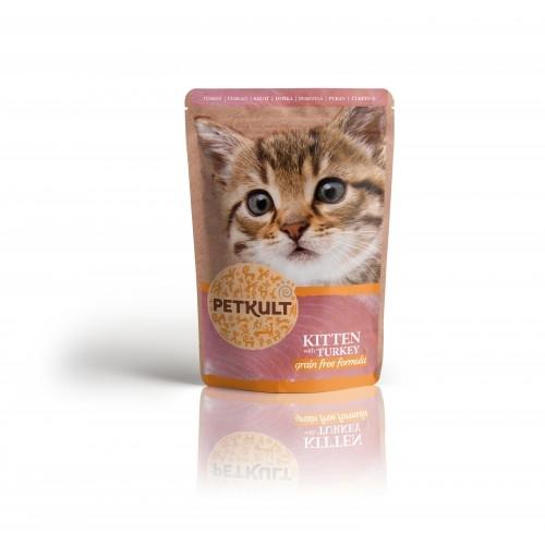 Hrana umeda pisici junioare, Petkult, Curcan, 100 g imagine