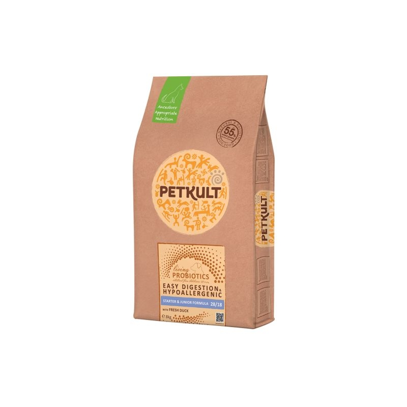 Petkult Probiotics Starter and Junior Formula Duck & Rice, 8 kg imagine